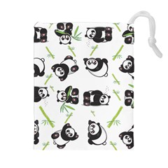 Panda Tile Cute Pattern Drawstring Pouches (Extra Large)