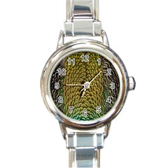 Colorful Iridescent Feather Bird Color Peacock Round Italian Charm Watch