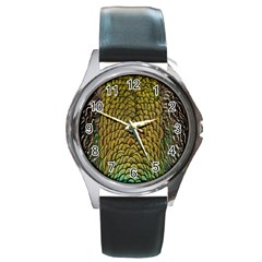 Colorful Iridescent Feather Bird Color Peacock Round Metal Watch