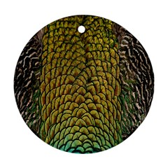 Colorful Iridescent Feather Bird Color Peacock Ornament (Round)