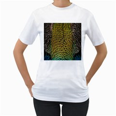 Colorful Iridescent Feather Bird Color Peacock Women s T Shirt (white) (two Sided)