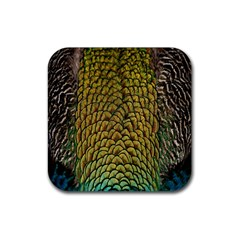 Colorful Iridescent Feather Bird Color Peacock Rubber Square Coaster (4 Pack)