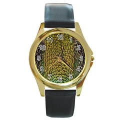 Colorful Iridescent Feather Bird Color Peacock Round Gold Metal Watch