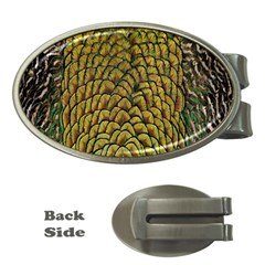 Colorful Iridescent Feather Bird Color Peacock Money Clips (oval)