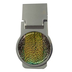 Colorful Iridescent Feather Bird Color Peacock Money Clips (Round)