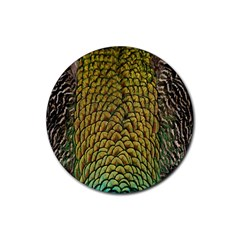 Colorful Iridescent Feather Bird Color Peacock Rubber Round Coaster (4 pack)