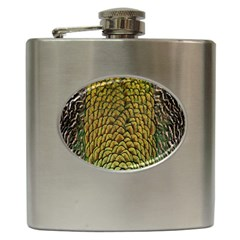 Colorful Iridescent Feather Bird Color Peacock Hip Flask (6 Oz)