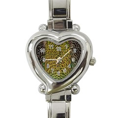 Colorful Iridescent Feather Bird Color Peacock Heart Italian Charm Watch
