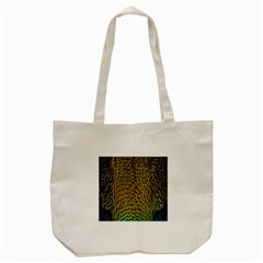 Colorful Iridescent Feather Bird Color Peacock Tote Bag (Cream)