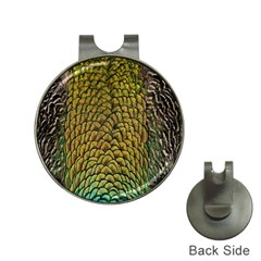 Colorful Iridescent Feather Bird Color Peacock Hat Clips With Golf Markers
