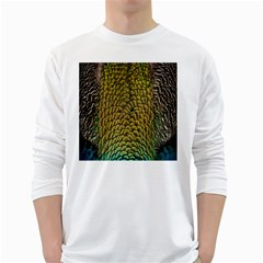 Colorful Iridescent Feather Bird Color Peacock White Long Sleeve T-Shirts