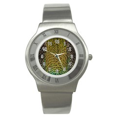 Colorful Iridescent Feather Bird Color Peacock Stainless Steel Watch