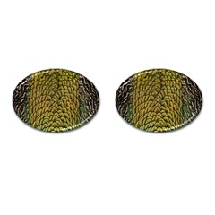 Colorful Iridescent Feather Bird Color Peacock Cufflinks (oval)