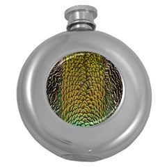 Colorful Iridescent Feather Bird Color Peacock Round Hip Flask (5 Oz)