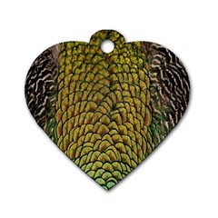 Colorful Iridescent Feather Bird Color Peacock Dog Tag Heart (one Side)