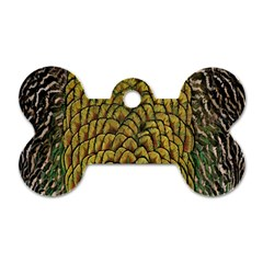 Colorful Iridescent Feather Bird Color Peacock Dog Tag Bone (one Side)