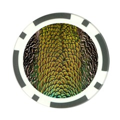 Colorful Iridescent Feather Bird Color Peacock Poker Chip Card Guard