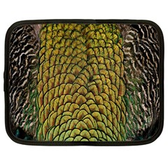 Colorful Iridescent Feather Bird Color Peacock Netbook Case (large)
