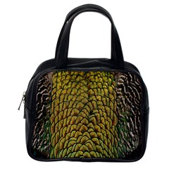 Colorful Iridescent Feather Bird Color Peacock Classic Handbags (one Side)