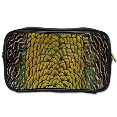 Colorful Iridescent Feather Bird Color Peacock Toiletries Bags 2 Side