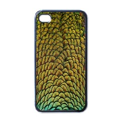 Colorful Iridescent Feather Bird Color Peacock Apple Iphone 4 Case (black)