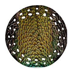 Colorful Iridescent Feather Bird Color Peacock Ornament (round Filigree)