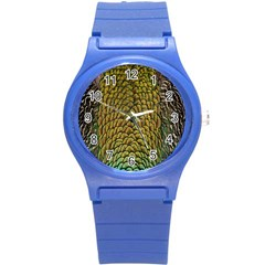 Colorful Iridescent Feather Bird Color Peacock Round Plastic Sport Watch (s)