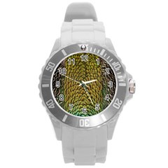 Colorful Iridescent Feather Bird Color Peacock Round Plastic Sport Watch (l)