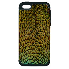 Colorful Iridescent Feather Bird Color Peacock Apple Iphone 5 Hardshell Case (pc+silicone)