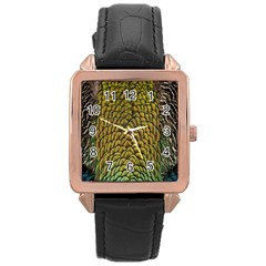 Colorful Iridescent Feather Bird Color Peacock Rose Gold Leather Watch