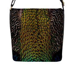 Colorful Iridescent Feather Bird Color Peacock Flap Messenger Bag (l)