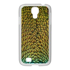 Colorful Iridescent Feather Bird Color Peacock Samsung Galaxy S4 I9500/ I9505 Case (white)