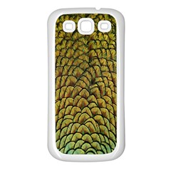 Colorful Iridescent Feather Bird Color Peacock Samsung Galaxy S3 Back Case (white)
