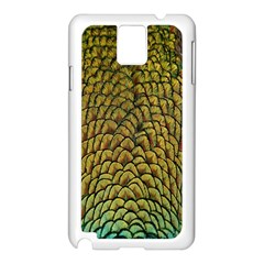 Colorful Iridescent Feather Bird Color Peacock Samsung Galaxy Note 3 N9005 Case (white)