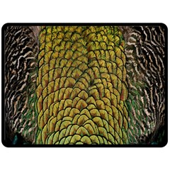 Colorful Iridescent Feather Bird Color Peacock Double Sided Fleece Blanket (Large)