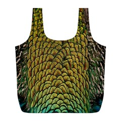 Colorful Iridescent Feather Bird Color Peacock Full Print Recycle Bags (L)