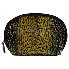 Colorful Iridescent Feather Bird Color Peacock Accessory Pouches (large)