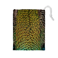 Colorful Iridescent Feather Bird Color Peacock Drawstring Pouches (large)