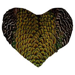 Colorful Iridescent Feather Bird Color Peacock Large 19  Premium Flano Heart Shape Cushions