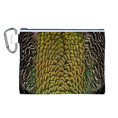 Colorful Iridescent Feather Bird Color Peacock Canvas Cosmetic Bag (l)