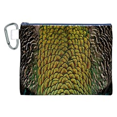 Colorful Iridescent Feather Bird Color Peacock Canvas Cosmetic Bag (xxl)