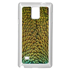 Colorful Iridescent Feather Bird Color Peacock Samsung Galaxy Note 4 Case (White)