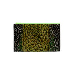 Colorful Iridescent Feather Bird Color Peacock Cosmetic Bag (XS)