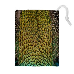 Colorful Iridescent Feather Bird Color Peacock Drawstring Pouches (Extra Large)