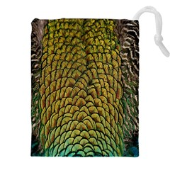 Colorful Iridescent Feather Bird Color Peacock Drawstring Pouches (XXL)