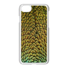 Colorful Iridescent Feather Bird Color Peacock Apple Iphone 7 Seamless Case (white)