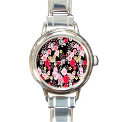 Flower Arrangements Season Rose Butterfly Floral Pink Red Yellow Round Italian Charm Watch