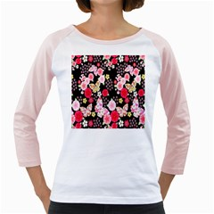 Flower Arrangements Season Rose Butterfly Floral Pink Red Yellow Girly Raglans