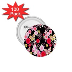 Flower Arrangements Season Rose Butterfly Floral Pink Red Yellow 1 75  Buttons (100 Pack)