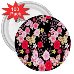 Flower Arrangements Season Rose Butterfly Floral Pink Red Yellow 3  Buttons (100 Pack)